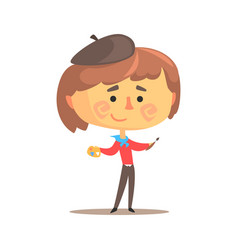 Cute cartoon artist little boy with paintbrush and vector