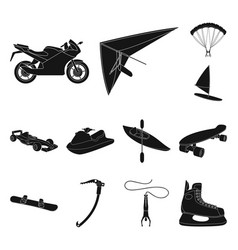 Extreme sport black icons in set collection for vector