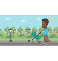 Father walking with his baby in stroller vector image
