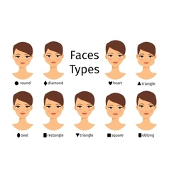 Female face shapes vector