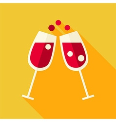 Flat Design Cheers Glasses with Wine Icon vector