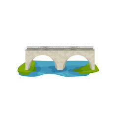 flat design of brick bridge large arch vector image