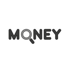 flat design style concept of money text with vector image