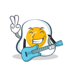Fried egg character cartoon with guitar vector