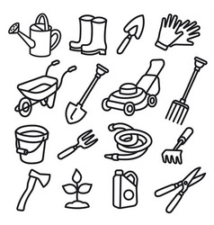 garden tools icons vector image