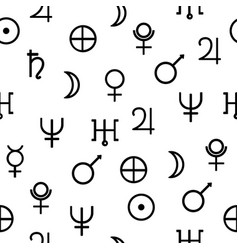 geometric pattern with planet icons hipster vector image
