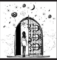 Girl open the door entrance with stars the planer vector