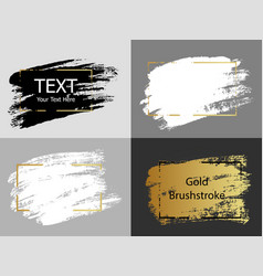 gold white and black paint stroke with border vector image