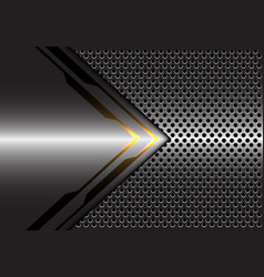 grey metallic yellow light arrow circle mesh vector image