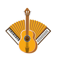 Guitar and accordion isolated icon vector