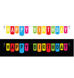 happy birthday colourful bunting background vector image