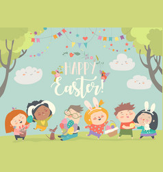 Happy children celebrating easter in the forest vector
