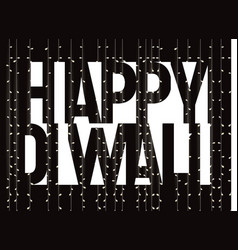 Happy diwali banner white text on black vector