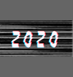 happy new year 2020 text glitch style vector image