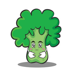 Hugging broccoli chracter cartoon style vector