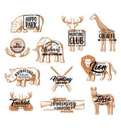 hunter club hunting season animals lettering vector image