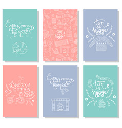 hygge cards with hand drawn cozy home vector image