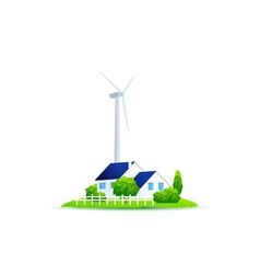 Icon Eco House of green energy for the house vector image