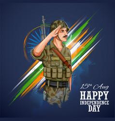 Indian army soilder saluting flag india vector