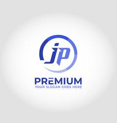 Jp modern logo design concept vector