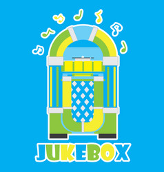 Jukebox and musical note on blue background vector