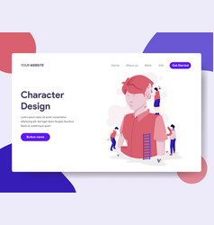 landing page template character design process vector image