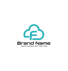 Letter f logo and clouds vector