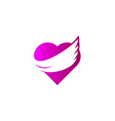love wings logo flying heart concept angel heart vector image