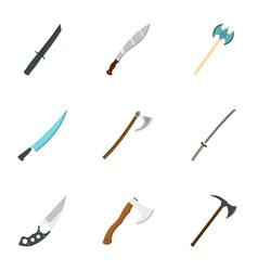 military steel weapons icon set flat style vector image