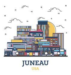 Outline juneau alaska city skyline with colored vector