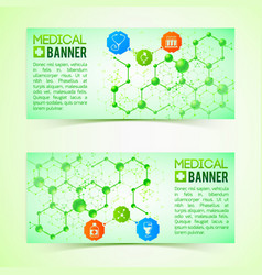 pharmaceutics and pharmacy horizontal banners set vector image