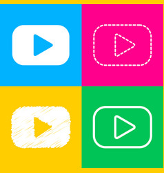 play button sign four styles of icon on four vector image