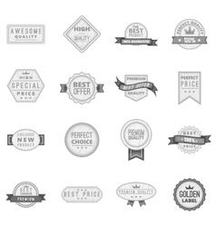 Premium quality label icons set vector image