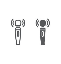 Pussy massager line and glyph icon sex toy vector