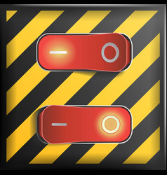 Realistic toggle switch danger background vector