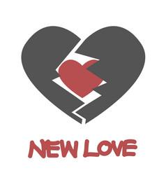 red heart inside gray broken heart vector image