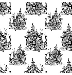 seamless pattern with fun snail vector image
