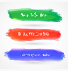 Set of three watercolor brushes vector