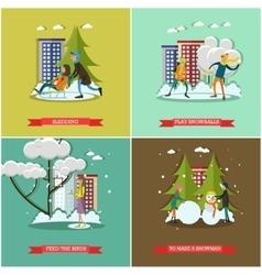 set of winter activities concept design vector image