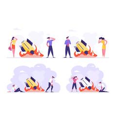 Set startup crash business failure vector