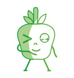 Silhouette kawaii cute funny apple fruit vector