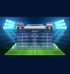 soccer scoreboard and football stadium vector image
