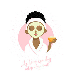 spa girl white clay mask vector image