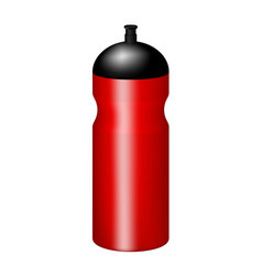 Sport plastic water bottle in red design vector
