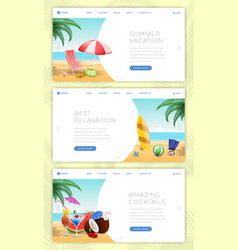 summer vacation landing pages set calm seaside vector image