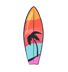 Surfboard with colorful lines and palm tree vector