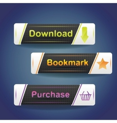 Three buttons with arrow and word download now vector