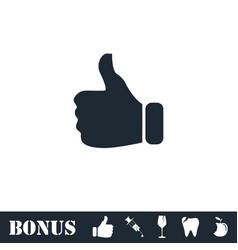 Thumb up icon flat vector