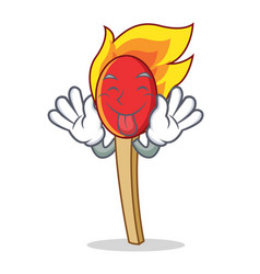 Tongue out match stick mascot cartoon vector