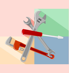 tools on a colored background vector image